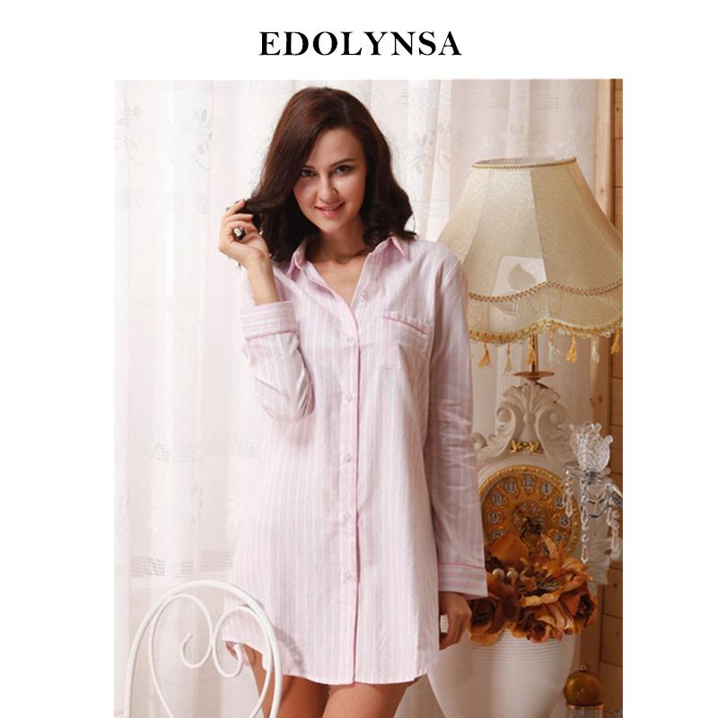 414be1dedb 2018 Brand Striped Cotton Nightgowns Sleepwear Female Sleep Lounge Women  Indoor Clothing Sexy Pink Home Dress Nightdress #P116 S1011 Pyjamas Womens  ...