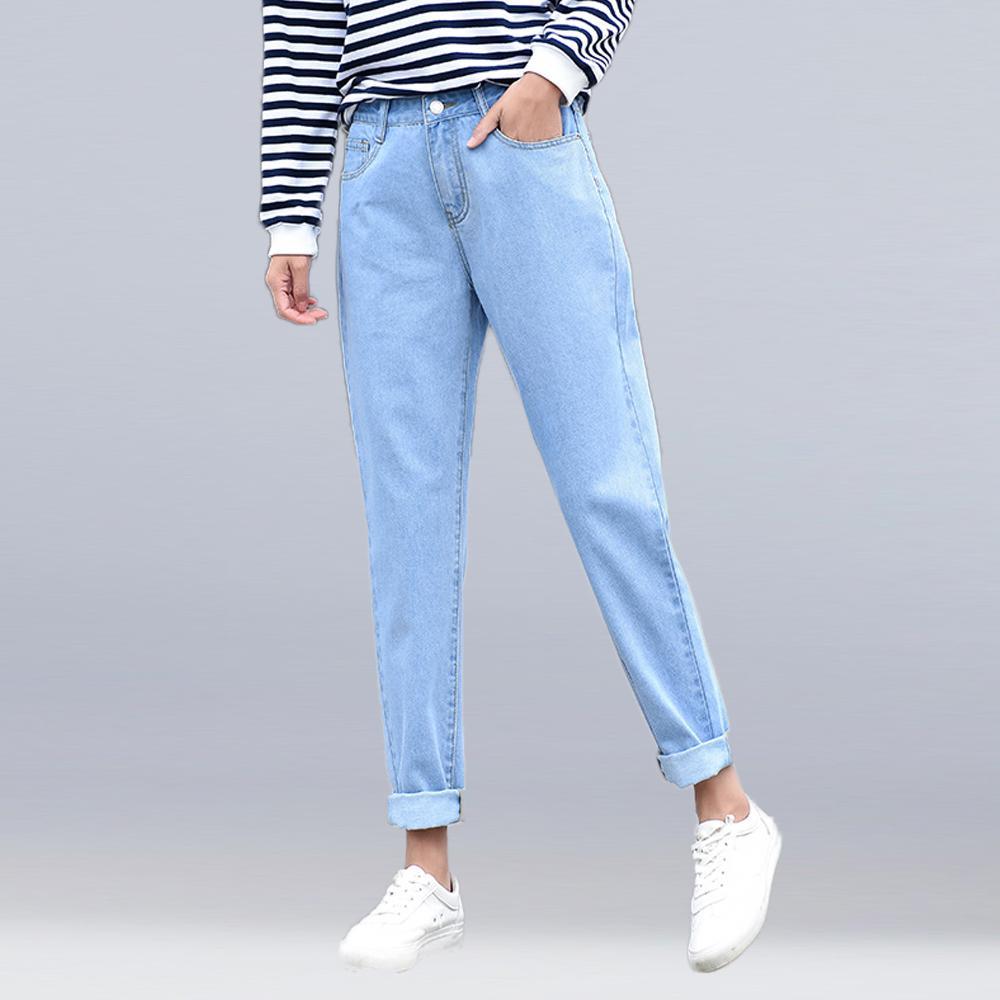 Compre Nuevas Mujeres 2018 Marca De Moda Jeans Negro Blanco Azul Pantalones  Harem Lavado Denim Pantalones Mujer Otoño Sueltos Casua Jeans A  23.47 Del  ... 50db5fd0e45