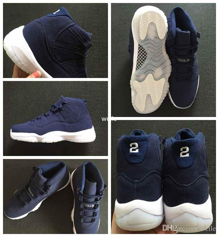 6e9434a12c1 2019 New 11 XI PRM Jeter Re2pect Navy Blue Suede Basketball Shoes For Men  Limited Release 351792 147 Mens Basket Ball 11s Sport Sneakers 8 13 From  Weile, ...