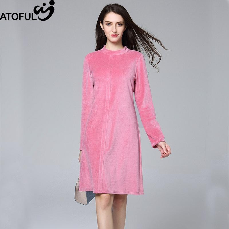 ee33289eb Compre ATOFUL Mulheres Vestido Do Vintage Elegante Simples Sólida Rosa  Vestido De Veludo Tamanho Grande 4XL Primavera Outono Manga Comprida A  Linha De ...