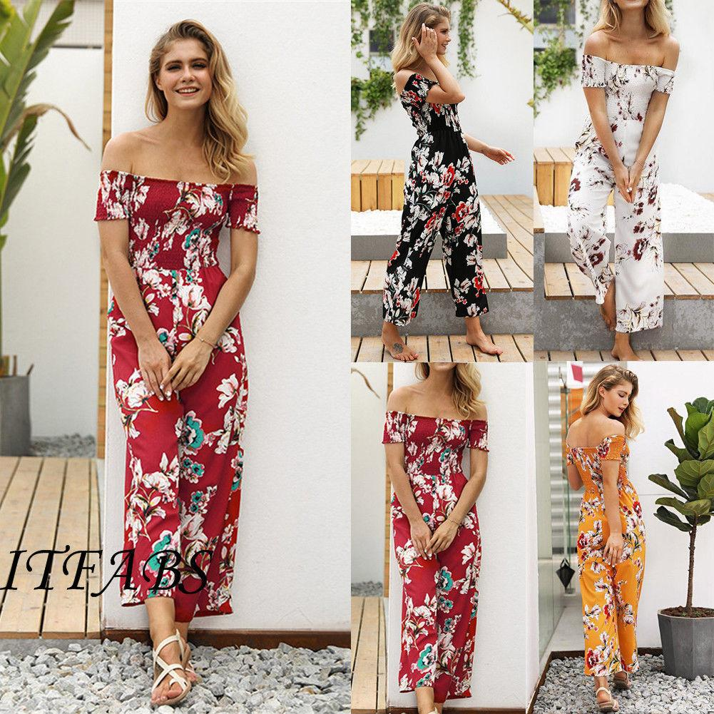 11aaae7683f New Women Summer Jumpsuit Floral Off Shoulder Short Sleeve Party Clubwear  Playsuit Romper Trousers Pants Summer Women Clothes Cute Dress For Women  Cocktail ...