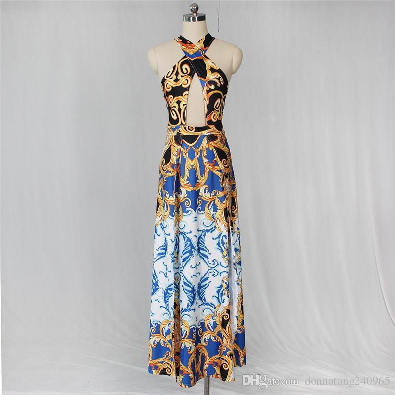 2018 Fashion flower Printed Sexy Halter Neck black Dress high split Slim Waist off Shoulder Backless Party Club maxi Dresses