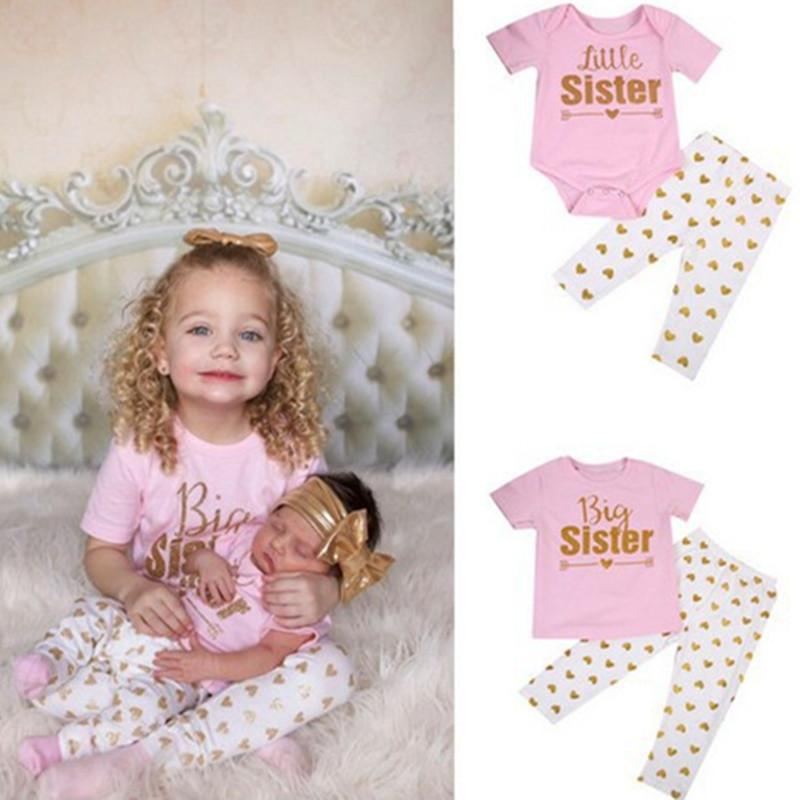 92b60dfa5f64 Matching Family Outfits Big Sister Little Sister Clothing Set Family Look  Cotton Outfits Baby Girl Clothes H0203 Matching Family Clothing Matching  Shirts ...