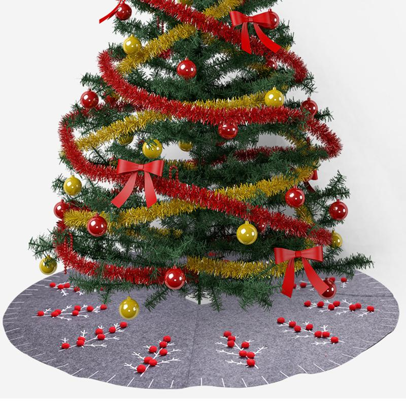 Weihnachtsbaum Rot.120cm Grau Filz Weihnachtsbaum Rock Für Home Decor Neujahr Weihnachten Dekoration Mit Weihnachtsbaum Rot 3d Pom Ball Ribbons