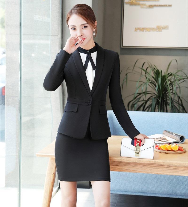 d1b7dd1012 Preto Blazer Mulheres Ternos De Negócio Formal Escritório Ternos Trabalho  Uniformes Senhoras Saia e Jaquetas Define OL Estilos