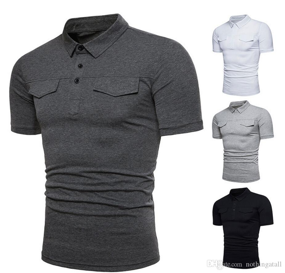2019 Mens Solid Polo Shirt Slim Fit Short Sleeve Polo Summer Casual