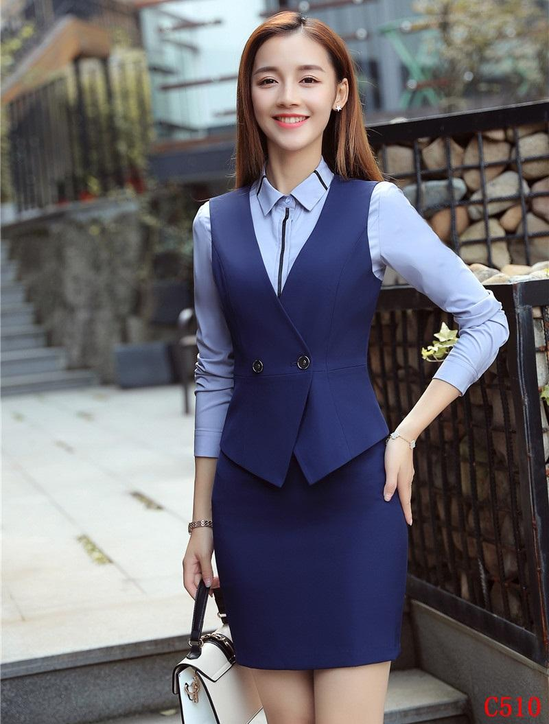 Ladies Blue Vest Waistcoat Women Business Suits Skirt And Top Sets