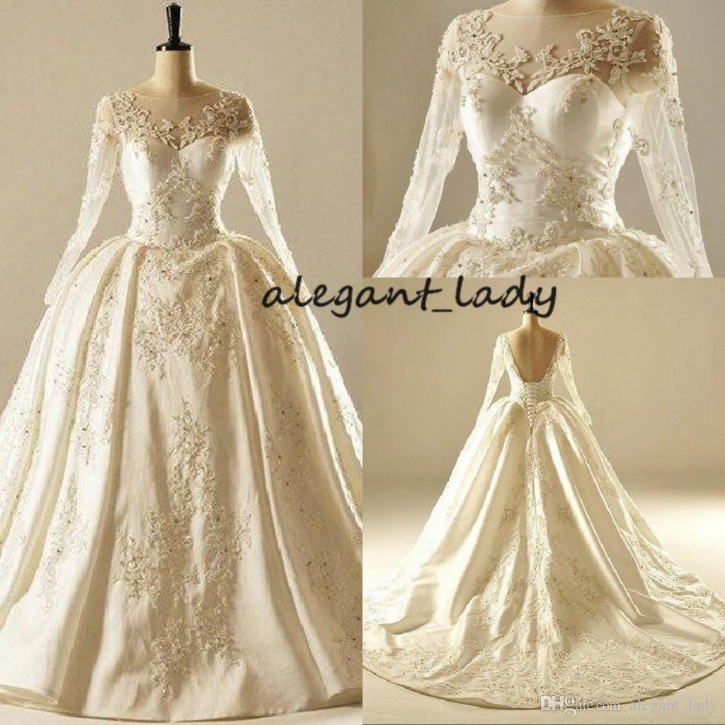 817c151c93a ... Ball Gown Wedding Dresses With Long Sleeve 2018 Lace Beaded Plus Size  Puffy Skirt Medieval Church Royal Corset Wedding Gown Pink Wedding Gowns  Princess ...