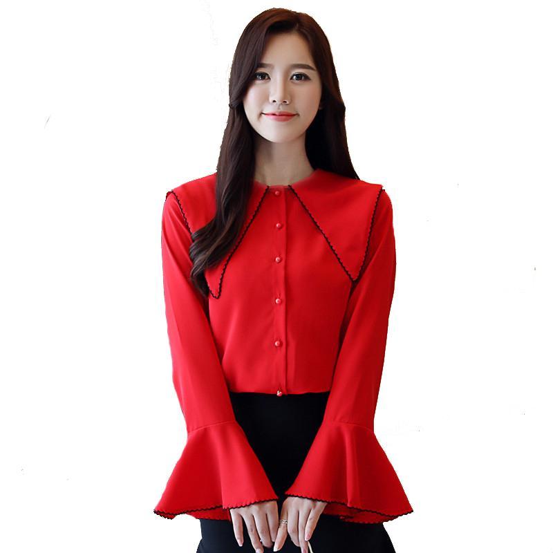 636586346a8936 2019 Fashion Woman Blouses 2018 Autumn New Korean Women S Chiffon Blosue  Shirts Ladies Long Sleeved Tops Casual Trumpet Sleeves Shirt From Liandee