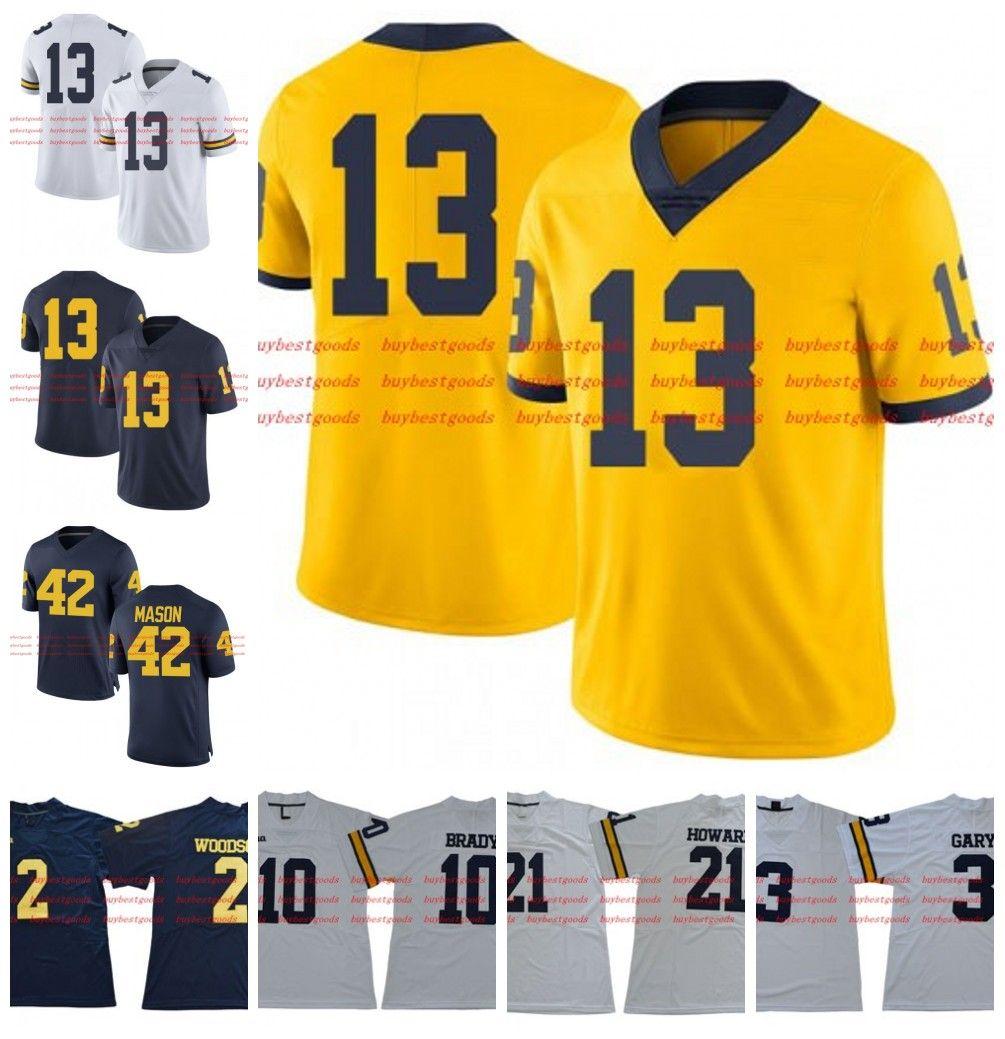 new arrivals 18f22 81c35 Custom NCAA Michigan Wolverines 5 Jabrill Peppers #13 Tru Wilson 42 Ben  Mason 77 Taylor Lewan Gold White Blue Yellow College Football Jersey