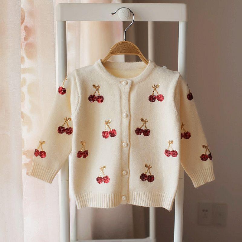 8b3868dc71bb51 Girls Cardigans Baby Girl Clothes Cherry Pattern Girls Sweaters Kids  Cardigan Autumn Winter Baby Knitted Sweater For Kids Sweater Knitting  Pattern Free ...