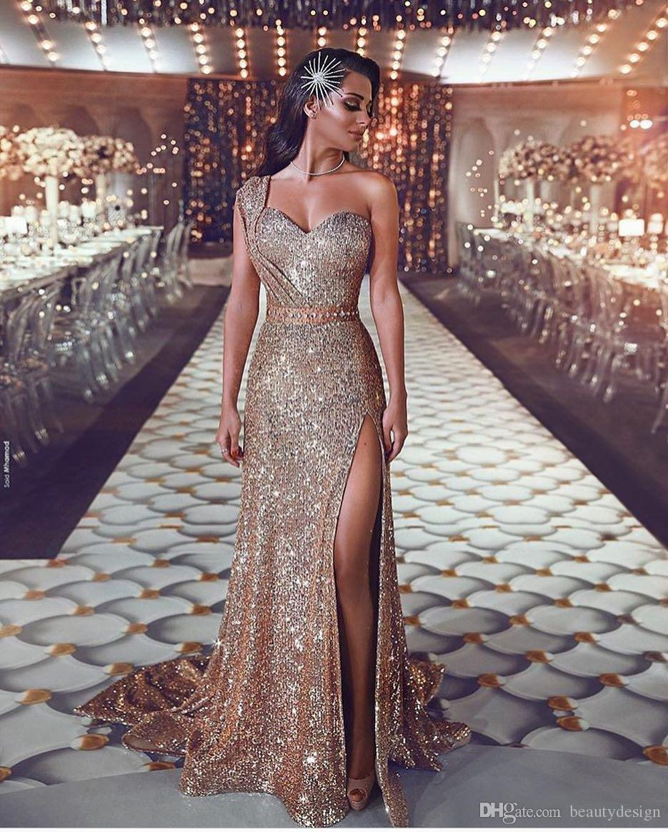 Luxurious 2019 Arabic Split Bling Bling Evening Dresses One Shoulder Beaded  Crystals Sequins Prom Dresses Sparkly Sexy Formal Party Gowns Special  Occasion ... deb23843fa68