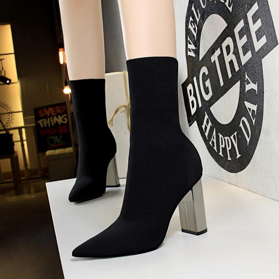 270d4e1b1f2a Winter Wool Thick Heel Women Half Boots Black Silver Pointed Toe High Heels  Fashion Booties Sexy Short Martin Boots 3128 2 Heels Boot From  Mei hairstyle