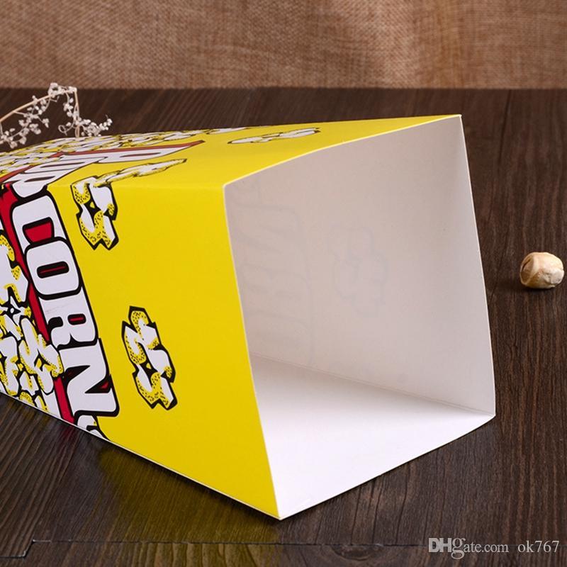 Venda por atacado caixa de embalagens de alimentos descartáveis Seguro Mini dobrado caixas de pipoca quadrada Doces Favor Sacos De Aniversário Do Casamento Fontes Do Partido Do Filme