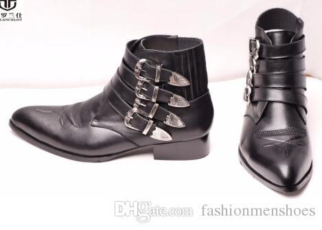 2018 Top in pelle di marca stivali moda vera pelle nuovo design boot fibbia uomo tacco corto suola in gomma vestito da uomo stivali