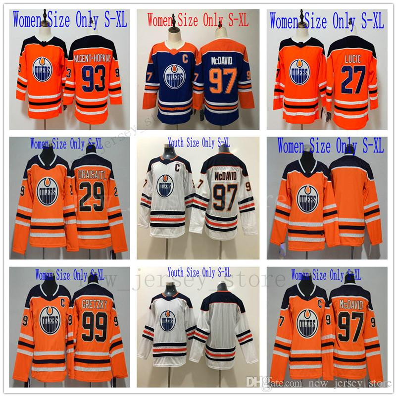 8763a8368 Women Kids Hockey Edmonton Oilers 27 Milan Lucic Jersey Orange Blue ...