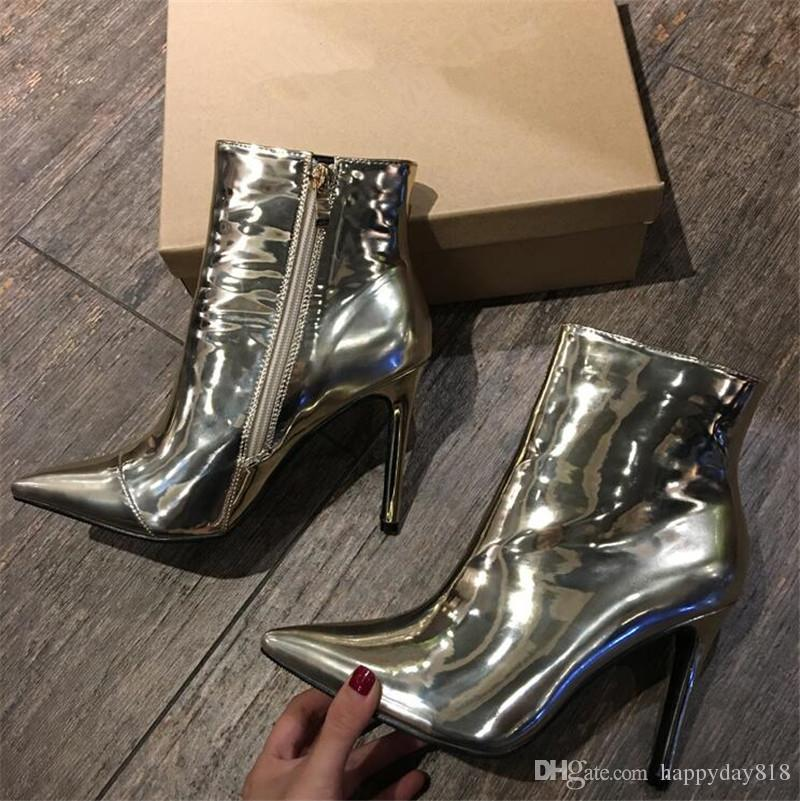 00d3198138 Fashion Women Pumps Silver Gold Patent Leather Ankle Boots Knight Boots  Fashion Boots High Heels Shoes Boots Online with $83.84/Piece on  Happyday818's Store ...