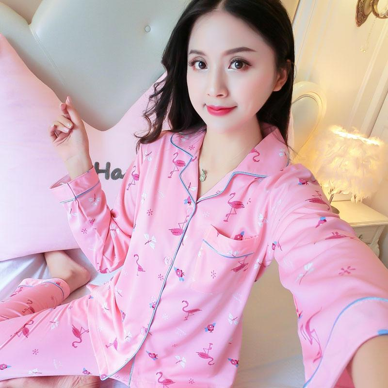 ea51df9b8a 2019 Female Long Sleeve Pink Sleepwear Suit Printing Flamingo Cute Girls Pajama  Set Autumn Cardigan Pajamas For Women Loose Pyjamas From Instrumenthome