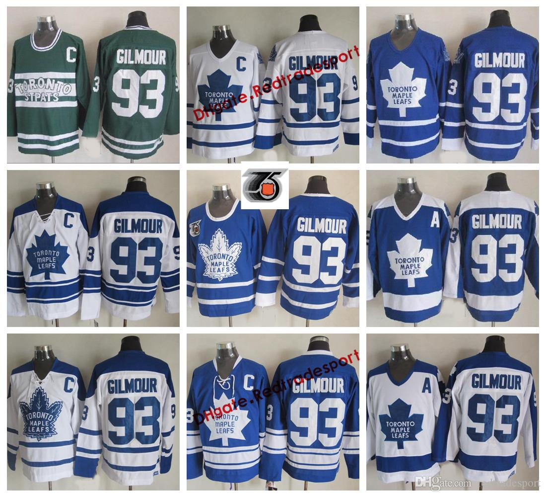 reputable site b287e 68ca1 Vintage Toronto Maple Leafs Doug Gilmour Hockey Jerseys Home Blue Mens  Classic 93 Doug Gilmour Stitched 75th Anniversary Shirts C Patch