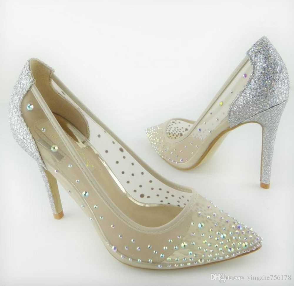 fabfeeac7e67 Silver Bling Fashion Design Women s High Heel Pumps Summer See through Party  Wedding Stiletto Shoes 10.5cm Thin Heels Women Heel Shoes Women Wedding  Shoes ...