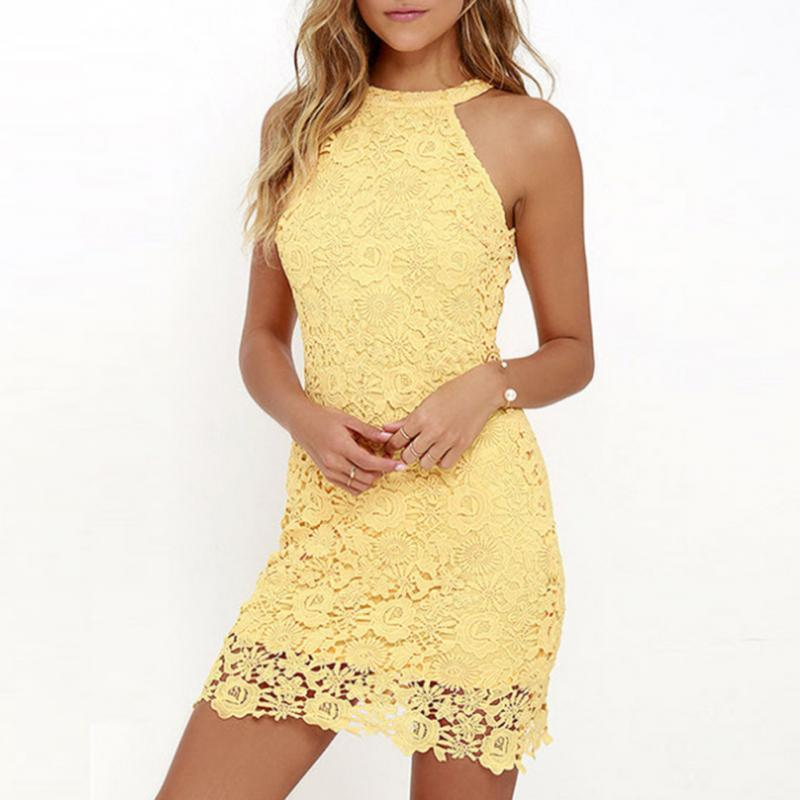 a17273f60789 Women Summer Elegant Halter Neck Sleeveless Bodycon Lace Crochet Mini Slim  Dress Wedding Party Dress Lace Summer Dresses Cheap Dress In White Party  From ...
