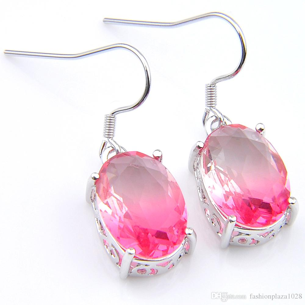 Luckyshine Insiemi dei monili rotonda Tourmaline 925 ovale collana in argento rosa zircone orecchino di pendente di nozze insiemi dei monili di trasporto