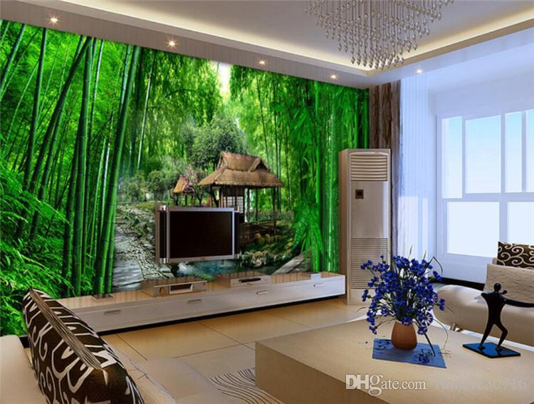 3d green natural bamboo river house wall mural photo wallpaper roll wall paper home decor. Black Bedroom Furniture Sets. Home Design Ideas