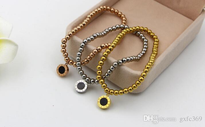 Bracciale in oro rosa titanio bracciale in oro rosa titanio numero romano dei braccialetti a doppia fune in silicone bianco e nero
