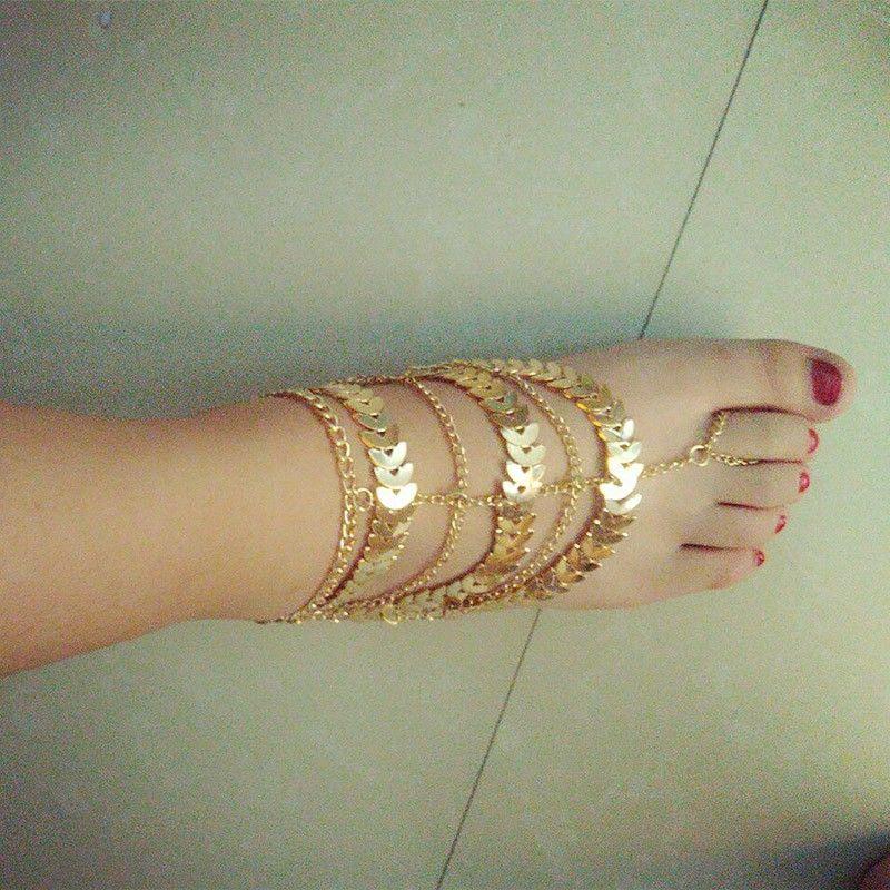 Multi couche longues glands feuilles métalliques bracelets de cheville pour les femmes cheville sur la jambe sandales aux pieds nus pied bijoux cheville Gratuite DHL G56L