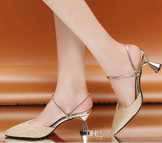 New Korean Fashion Two Wear Baotou Half Slippers Spring and summer Fine Tips Sandals and slippers High heels Women's shoes XINCHENWEIBU