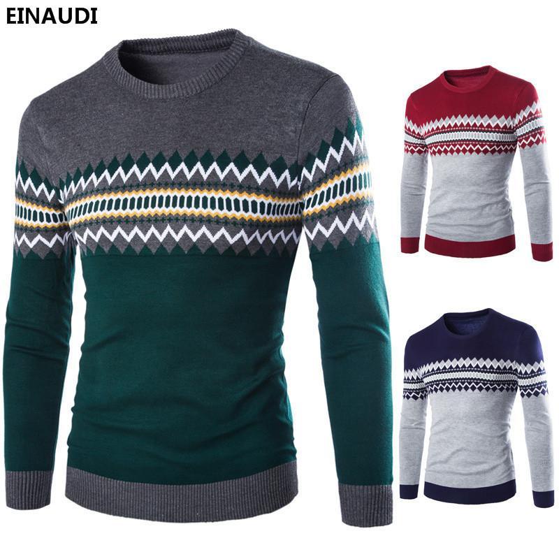 acf31f202c63 Großhandel Einaudi 2018 Männer Britischen Stil Geometrische Muster Pullover  Komfortable Herren Rundhals Langarm Pullover Gestrickte Männliche Pullover  Von ...