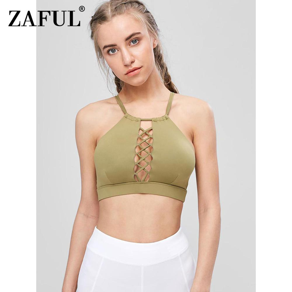 046968cebdce7 2019 ZAFUL High Neck Cutout Crisscross Sports Bra Sexy Hollow Out Athletic  Gym Running Top Gym Fitness Yoga Bras Workout Tank Top From Pearguo