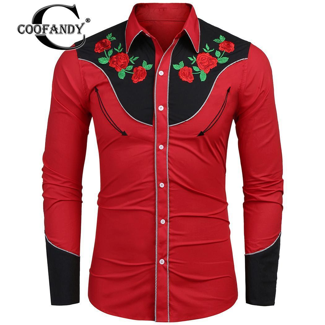 c714e1515b5 2019 COOFANDY Men Shirts18 New Autumn Blouse Casual Collar Long Sleeve  Embroidery Button Turn Down Slim Fit Long Male Dress Shirt D18102404 From  Shen07