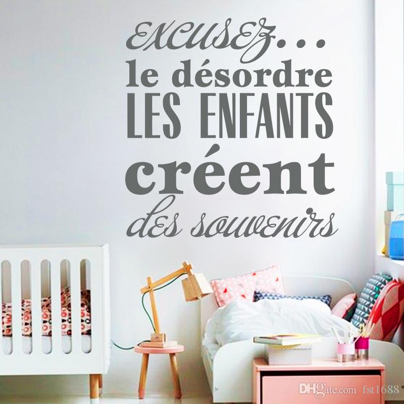 Modern Design For The Mess The Children Creative Memories Vinyl Wall Sticker French Good Memory Home Decor Decal FQ0016