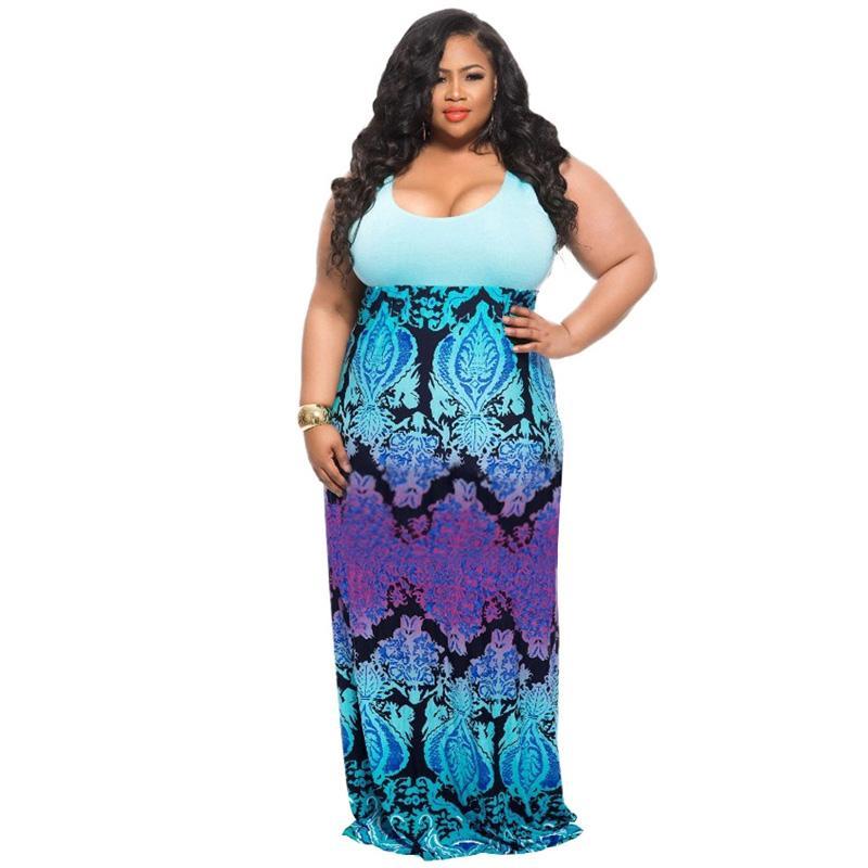 893fedd7bed 2019 Plus Size 3XL 4XL 5xl WOMEN Clothing Summer Sundress 2018 Big Size  Sleeveless Tank Stripe Print Beach Tunic Boho Long Maxi Dress From  Chencloth66