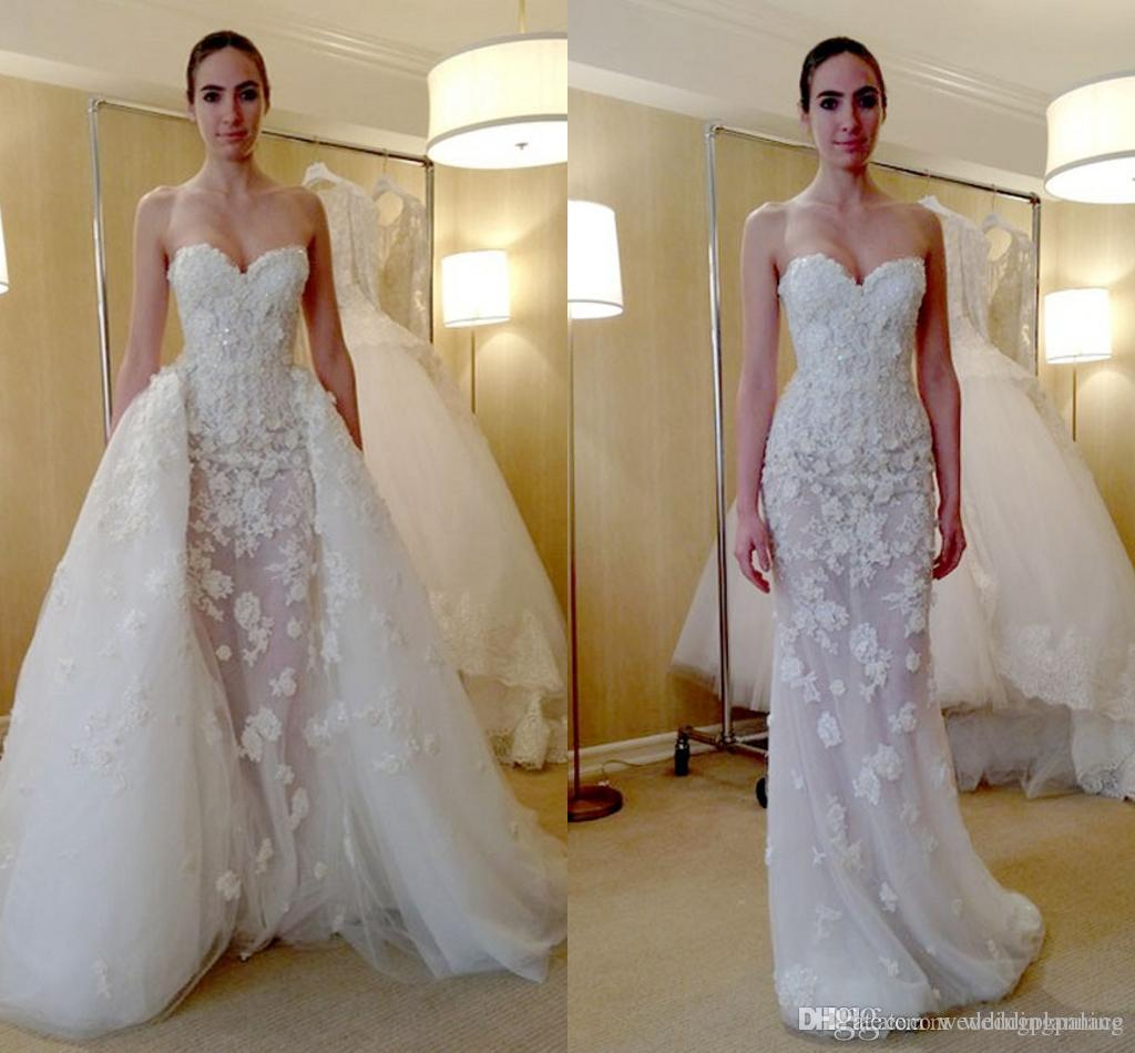 Removable Tail Column Sweetheart Wedding Dress Applique Lace Tulle ...