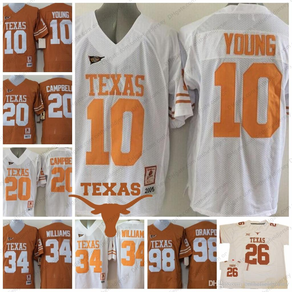 0961d6b93 ... cheapest 2019 vintage texas longhorns 10 vince young 20 earl campbell  34 ricky williams 98 brian