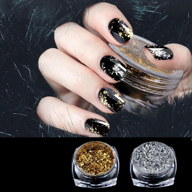 Acquista 1 Scatola Oro Argento Glitter Polvere Lucido Specchio