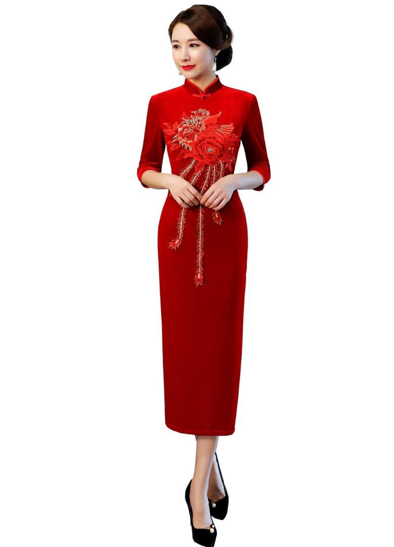 36b99e0d7c73a0 Shanghai Style Oriental Dress Chinois Style Dress Long Velours Cheongsam  Fleur Broderie Qipao Chinoises