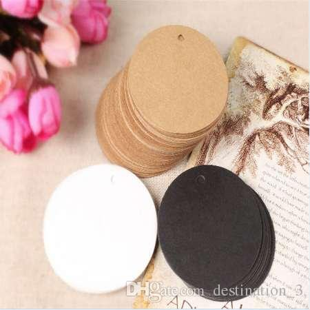Free Shipping 200pcs Jewelry Cloth Kraft Paper Cards Round Shape Blank Display Price Tags 5x5cm