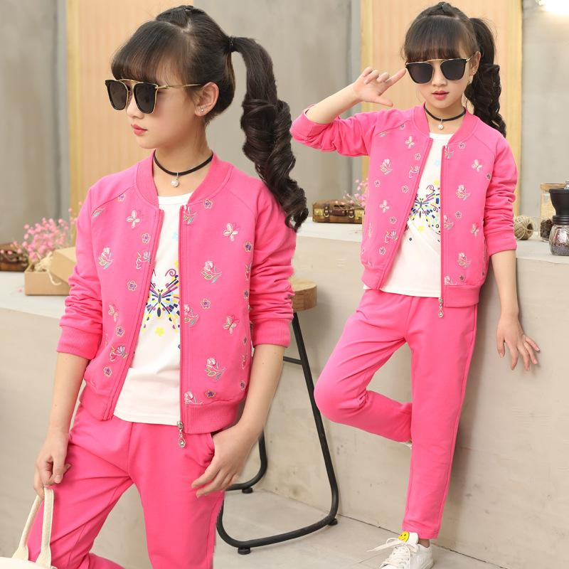 77f37d74a0460 3pcs Children Clothes Set For Girls 2018 Spring Autumn Girls Sets Clothes  Kids Fashion Tops Floral Pants Boutique Kids Clothing