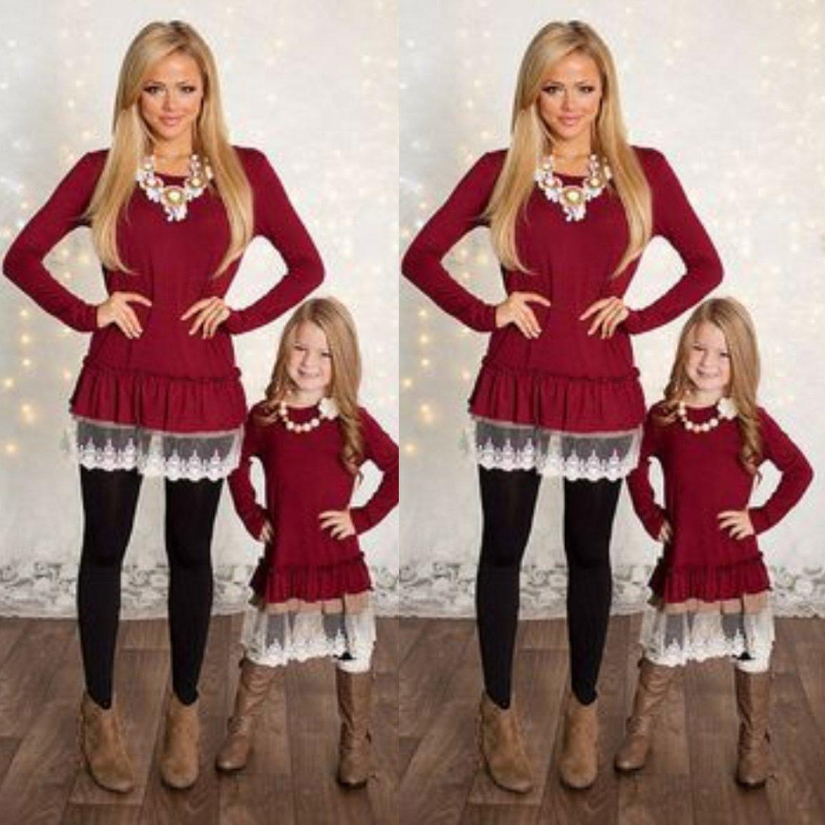 Mommy And Me Fashion Dresses Casual Mother Daughter Dresses Lace Patchwork  Red Solid Long Sleeves Family Matching Outfits Baby Kids Clothes Baby And  Daddy ... c59e559ae