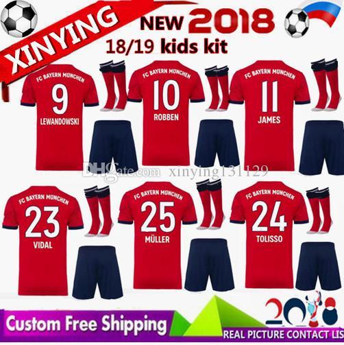 b6d1600def3 2018 2019 Kid Kits Soccer Sets JAMES VIDAL COATA Jerseys Home Away ...