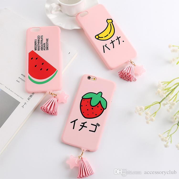 EMOJI Face Tassel Pendant Slim Cover Matte Ultrathin Hard PC Plastic Cute Back Case for iPhone 6 6s 7 8 Plus Smile Face Candy Color Skin