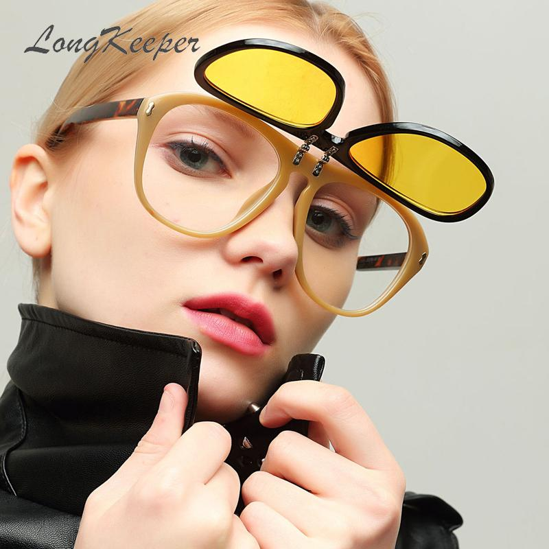LongKeeper Trendy Flip Up Gafas de sol Mujer Oversized Yellow Sun glass Hombres Lente doble Steampunk Gafas Gafas UV400