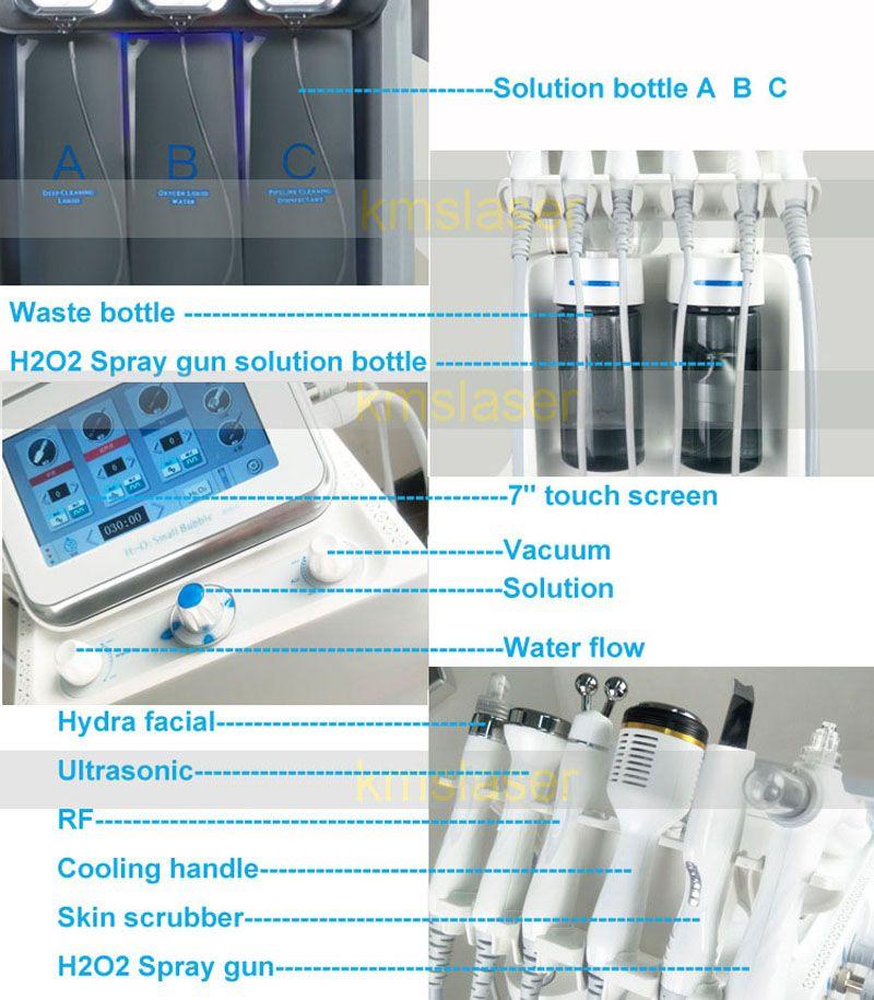 6 in 1 Aqua facial Hydra Facial skin scrubber Oxygen Spray with RF Bio Lifting Spa Facial acne treatment skin deep cleansing machine