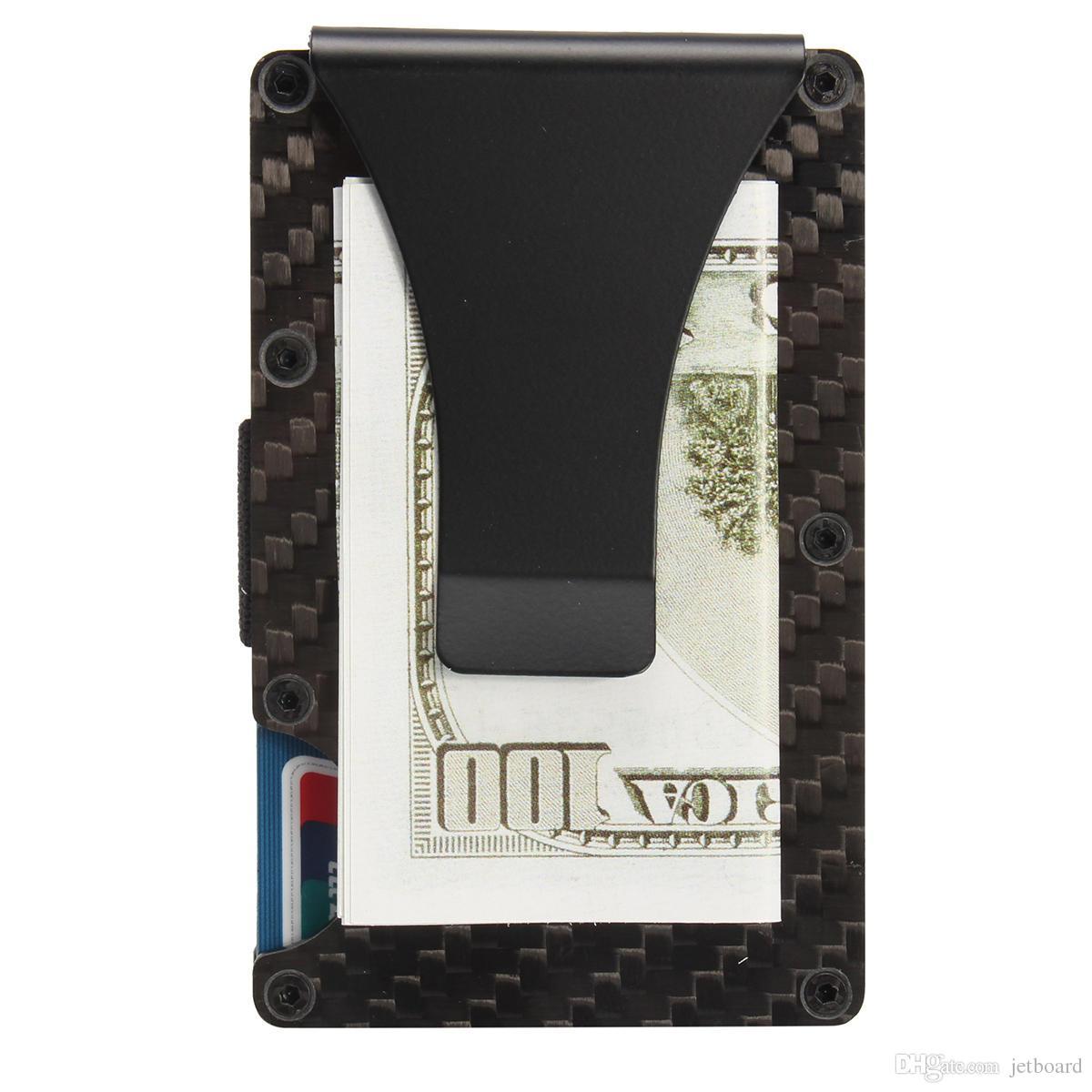 Titolare della clip dei soldi del raccoglitore del metallo del supporto della carta di credito della fibra di carbonio esile di RFID facile porta il hikingCamping