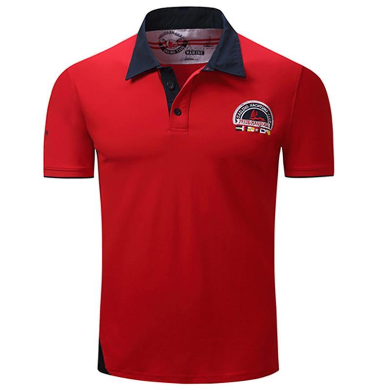 6abe10994a5 Acheter Designer Polo Marque Hommes Polo Shirt Hommes Solid Polo Homme  Casual Manches Courtes Tops Pour Homme Patchwork Coton Plus La Taille De   34.78 Du ...