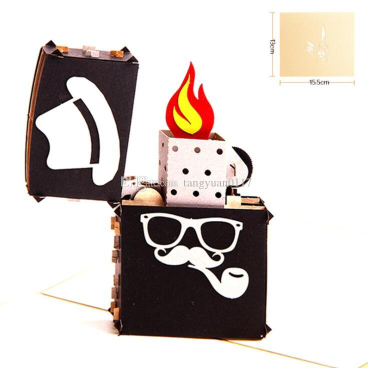 Vintage 3D Pop UP Paper Laser Cut Greeting Card Creative Handmade Coffee Postcards Birthday Festival Gift