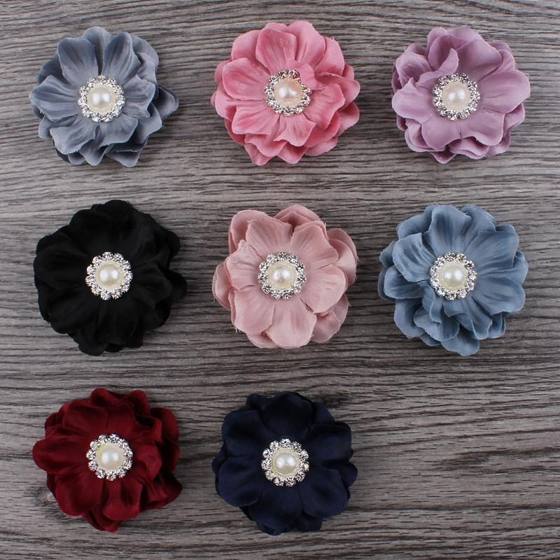 30pcs/lot 4.6cm 8colors Mini Felt Flower+Rhinestone Pearl Bead For Kids Girls Hair Accessories DIY Fabric Flowers For Headbands